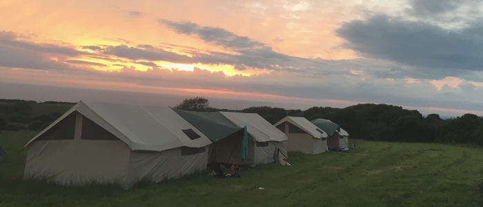 Tents set up for school group visit