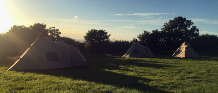 Tents set ready for group visit