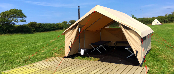 Inside view of tent at Cardigan bay camping